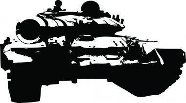 Russian tank silhouette in front stock vector