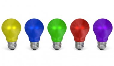 Row of light bulbs of vibrant contrasting colors. Front view