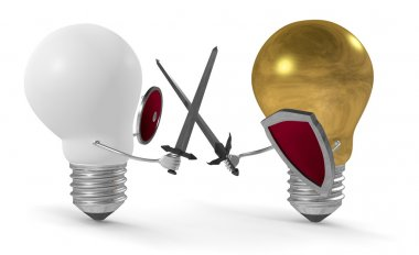 Golden light bulb fighting duel with swords and shields against white one