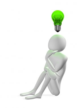 3d man thinking and green light bulb above