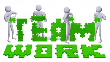 3d people assembling teamwork text of green puzzles