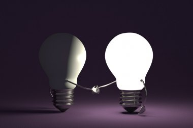 Light bulbs handshaking on violet