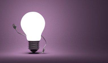 Light bulb character waving hand on violet