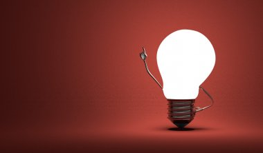 Light bulb character in moment of insight on red