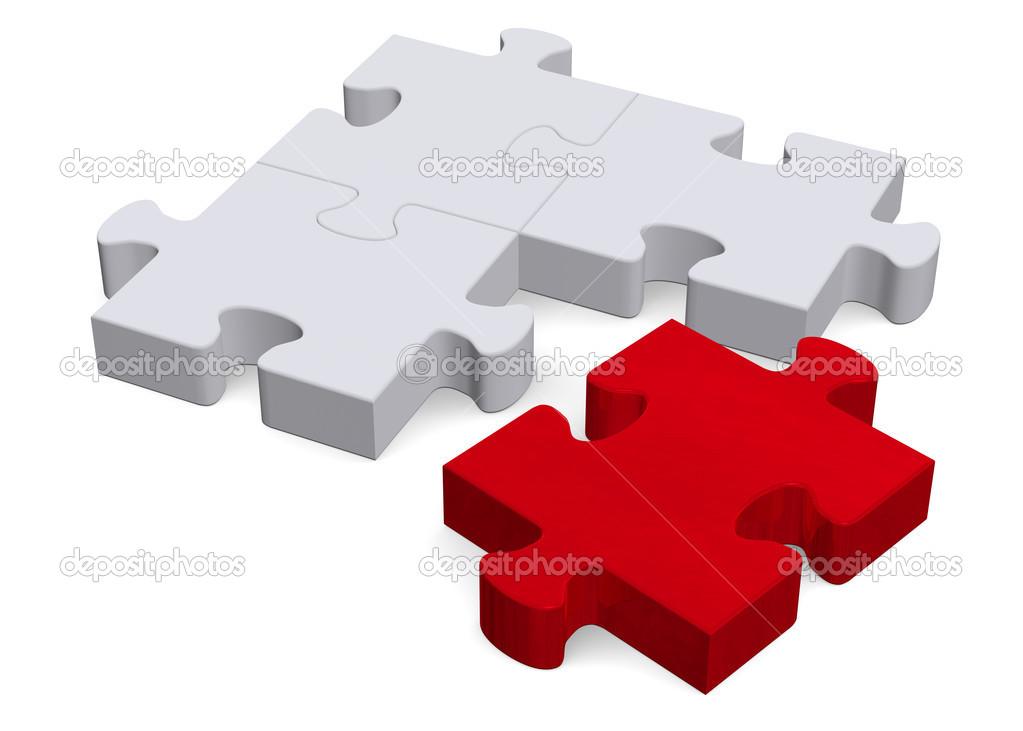 puzzle en 3d avec une pi ce manquante rouge sur blanc perspective photographie dmitry. Black Bedroom Furniture Sets. Home Design Ideas