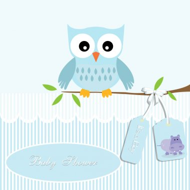 Baby shower card, for baby boy,owl and stripe background with hippo