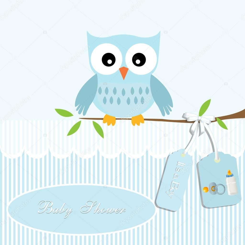 Background Baby Shower Card Baby Shower Card For Baby Boy Owl And Stripe Background With Baby Bottle Stock Vector C Nihaldesign 36847349