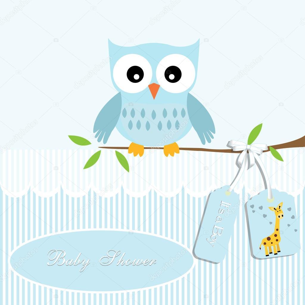 cc499c5d4 Tarjeta de ducha de bebé, para niño, buho y la raya de fondo con  giraffe.vector eps10, Ilustración - invitaciones de baby shower niña buhos  — Vector de ...