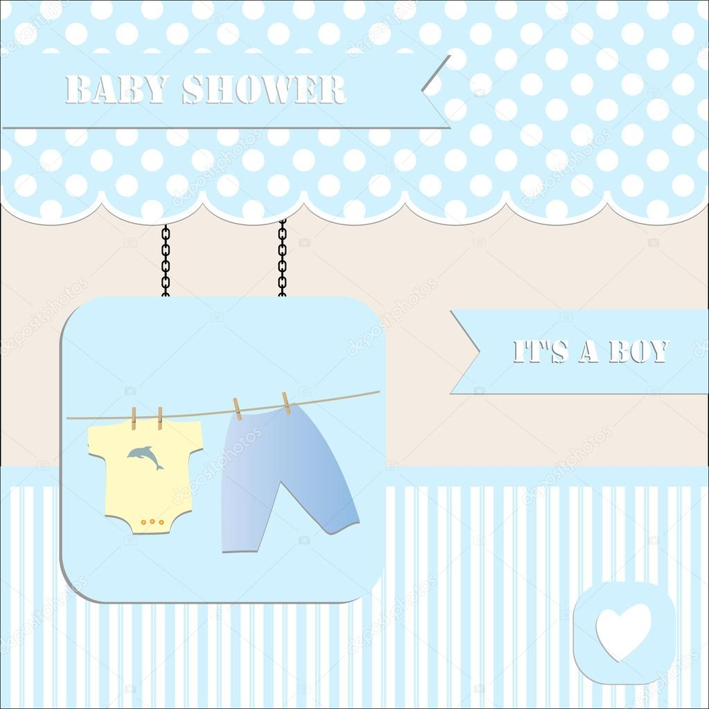 Baby Shower Invitation For Baby Boy Polka Dot And Stripe