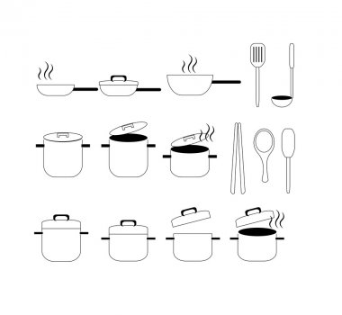 Collection of kitchen tool -pot, pan icon vector