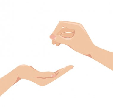Two human arms concept give and receive Vector illustration