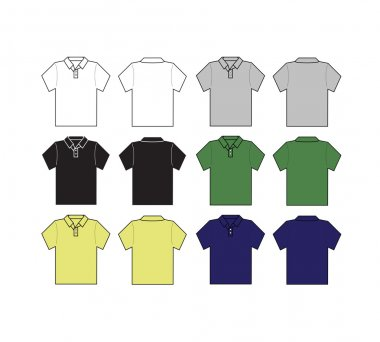 Set of polo shirt front and black with different color template -vector