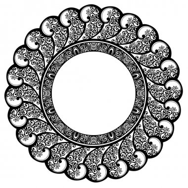 Beautiful Decorative Round Frame (Vector)