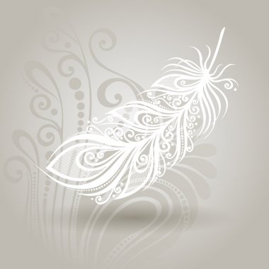 Vector Template with Peerless Feather in Ornate Background