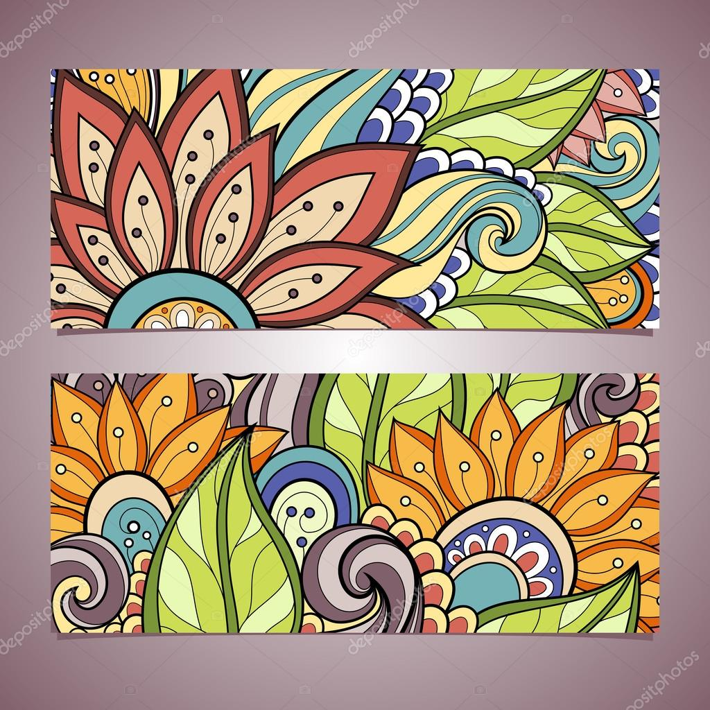 Vector Set of Floral Banner