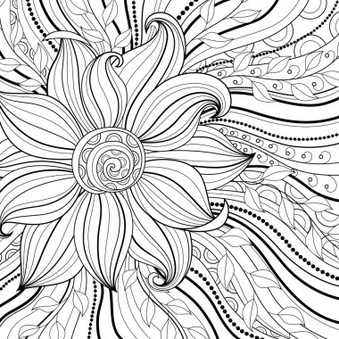 Vector Monochrome Floral Background. Hand Drawn Texture with Flowers