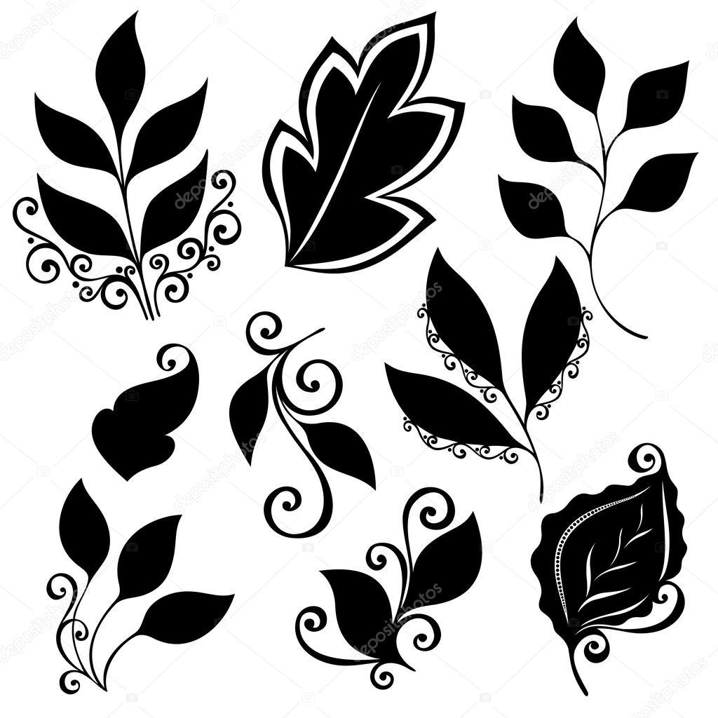Vector conjunto de hojas. plantillas aisladas — Archivo Imágenes ...