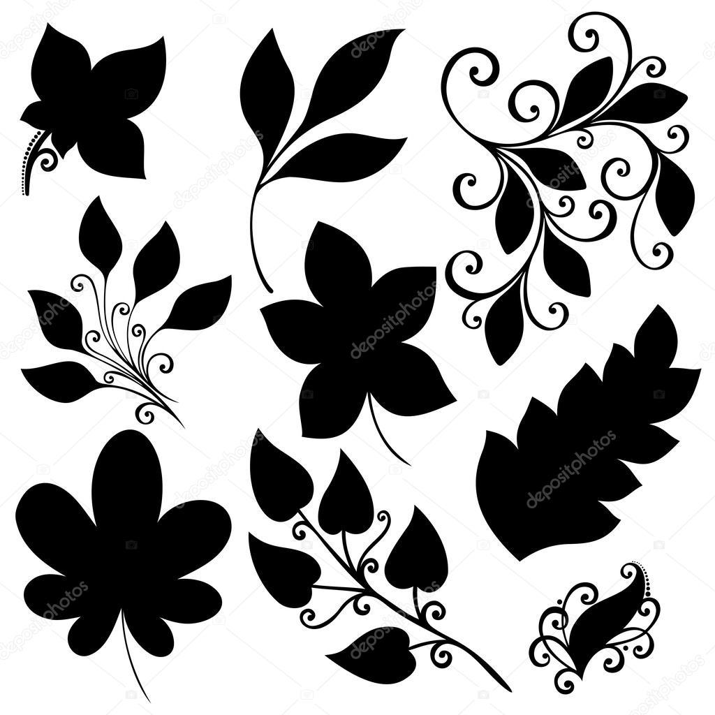 Vector conjunto de hojas. plantillas aisladas — Vector de stock ...