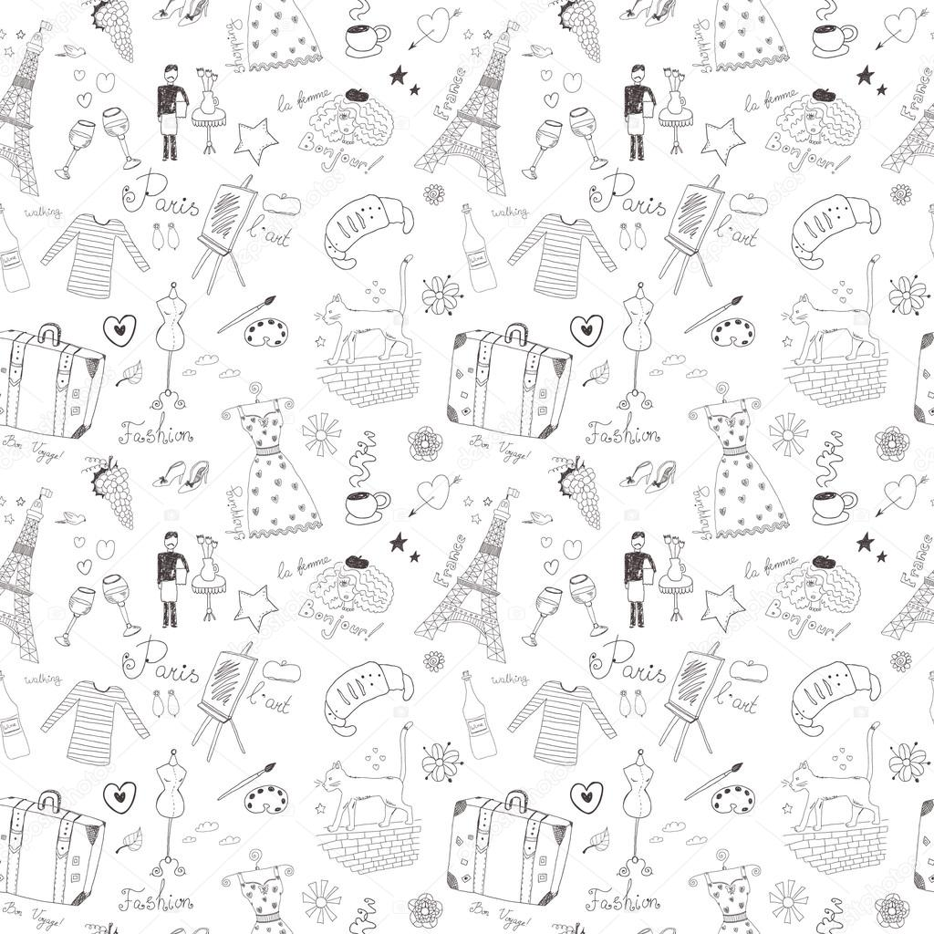 patrón sin costuras francesa — Vector de stock © orfeev #33776101