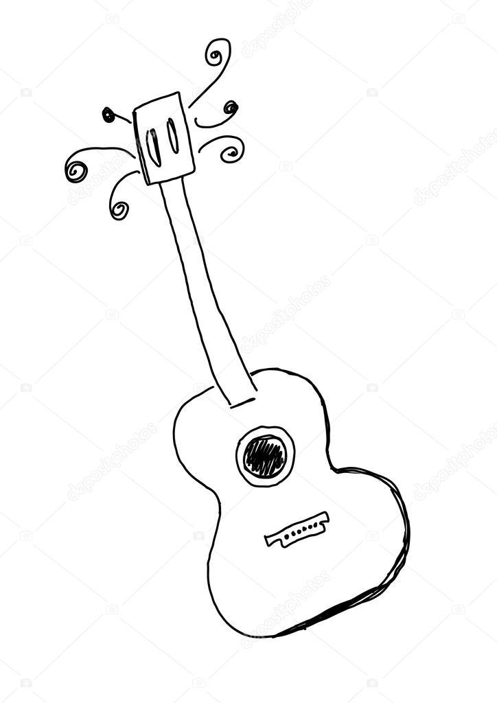 dé la guitarra dibujada — Archivo Imágenes Vectoriales © orfeev ...