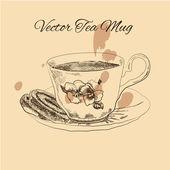 čaj hrnek a dort vintage styl