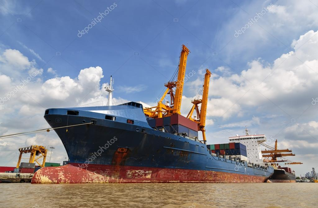Container ship in the harbor of Thailand, Day light