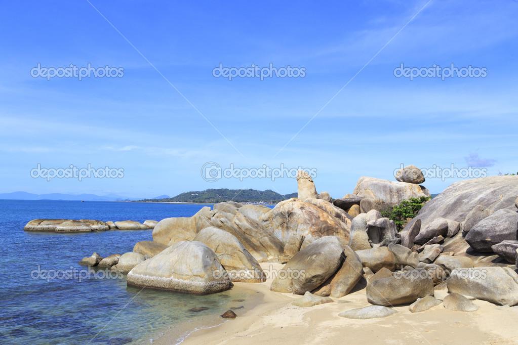 Bizarre rock (hin ta hin yai) formation on the island of Koh Sam