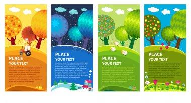 Four seasons: winter, spring, summer, autumn. Vector. stock vector