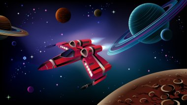 Cartoon spaceship with planets,stars and space background. Vector. clip art vector
