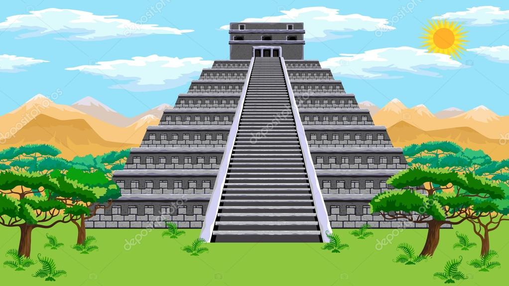 Fotos Dibujo De La Pirámide Azteca Pirámide Azteca Vector De