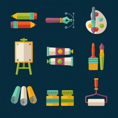 Set of flat vector artist and designer icons stock vector