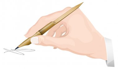 Writing with Bamboo Reed Pen - Illustration