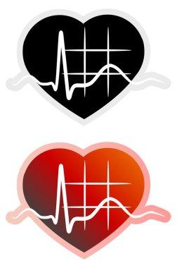 Heart ECG stock vector