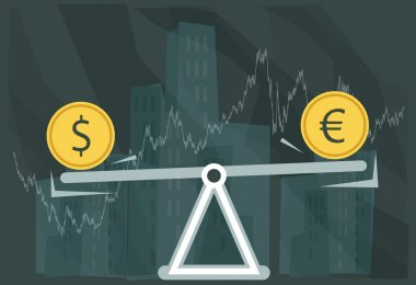 Currency Fluctuations - Illustration clip art vector