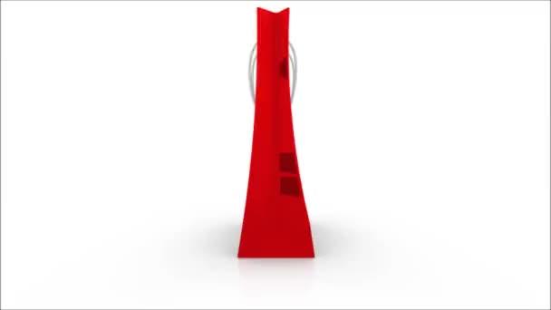 Rotation rote Papiertüte mit Text zum Verkauf