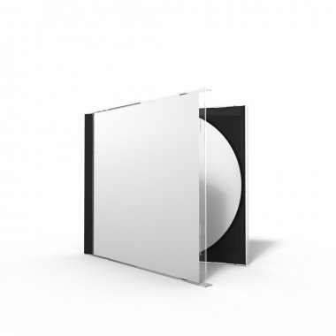 3d rendering of a disc case with glass cover and booklet
