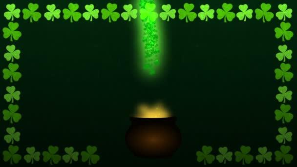 St patrick den magický kotel s zlatá mince animace video