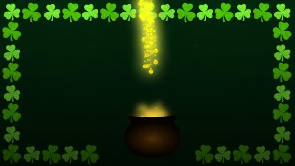 St patrick den magický kotel s fontánou shamrock