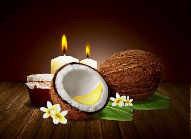 Coconut Honey Spa and wellness setting with natural