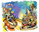 zábavní park ilustrace