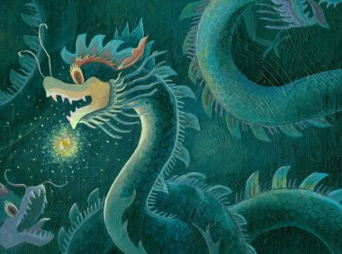 Acrylic painting of a Chinese dragon