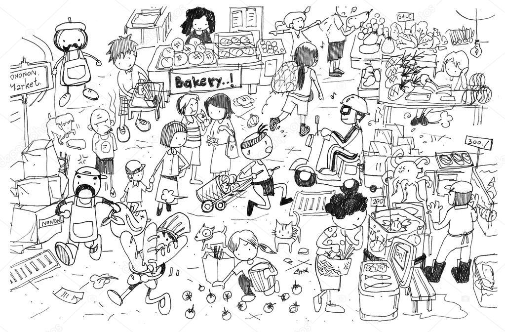blanco y negro dibujo de dibujos animados de mercado ocupado — Fotos ...