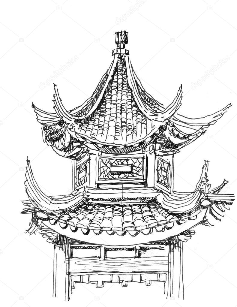 templo chinês desenho em preto e branco fotografias de stock