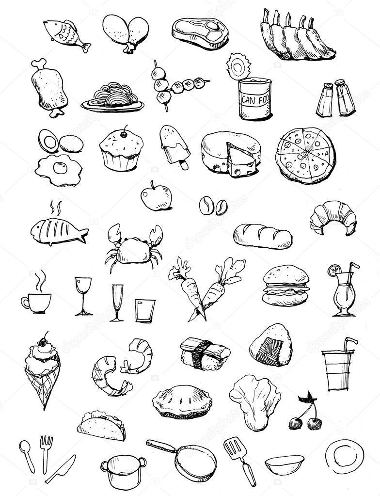voedsel pictogrammen hand getekende illustratie