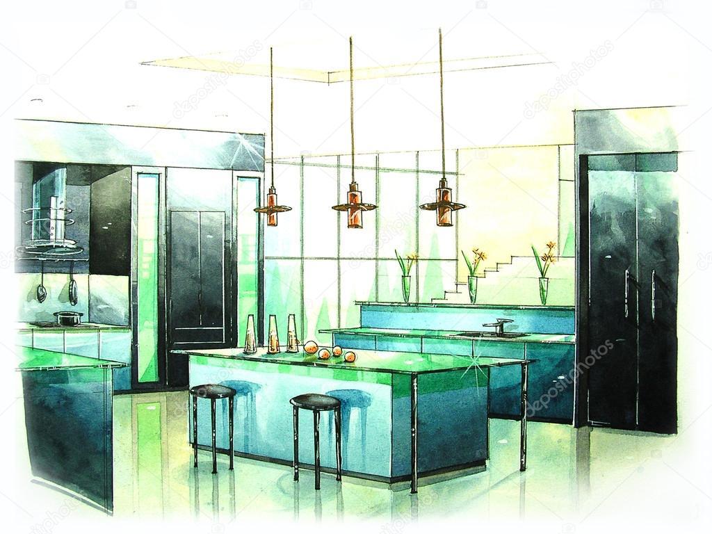 Pittura colore acqua di cucina moderna — Foto Stock ...