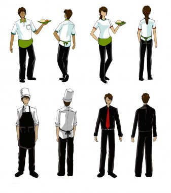 restaurant people and uniform illustration