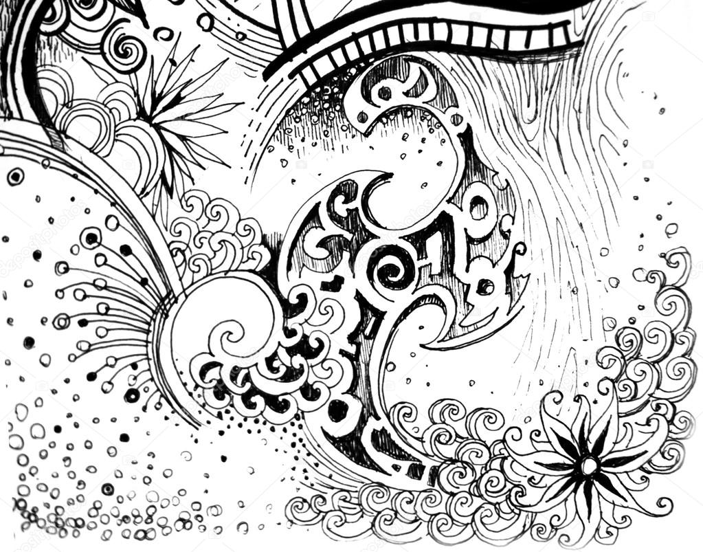 abstract flower black and white nature drawing
