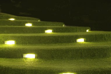 artificial grass stair decoration with lighting
