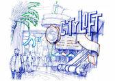 univerzální studio město pěšky ilustrace