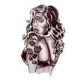 pulzující rockabilly žena s tetováním na zbraně